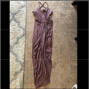 Mauve Asymmetrical Wrap Dress